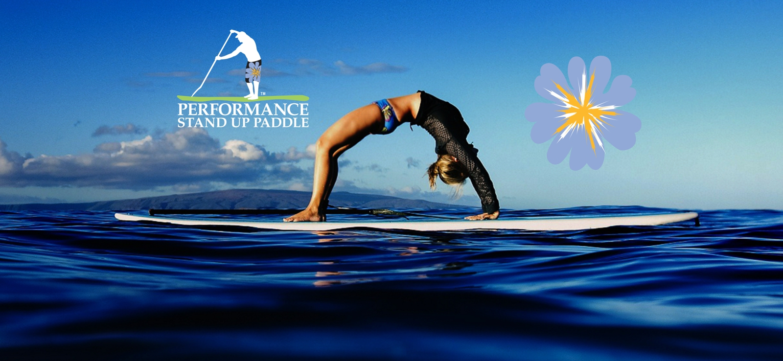 A person doing Yoga, a backbend, on her SUP in the ocean
