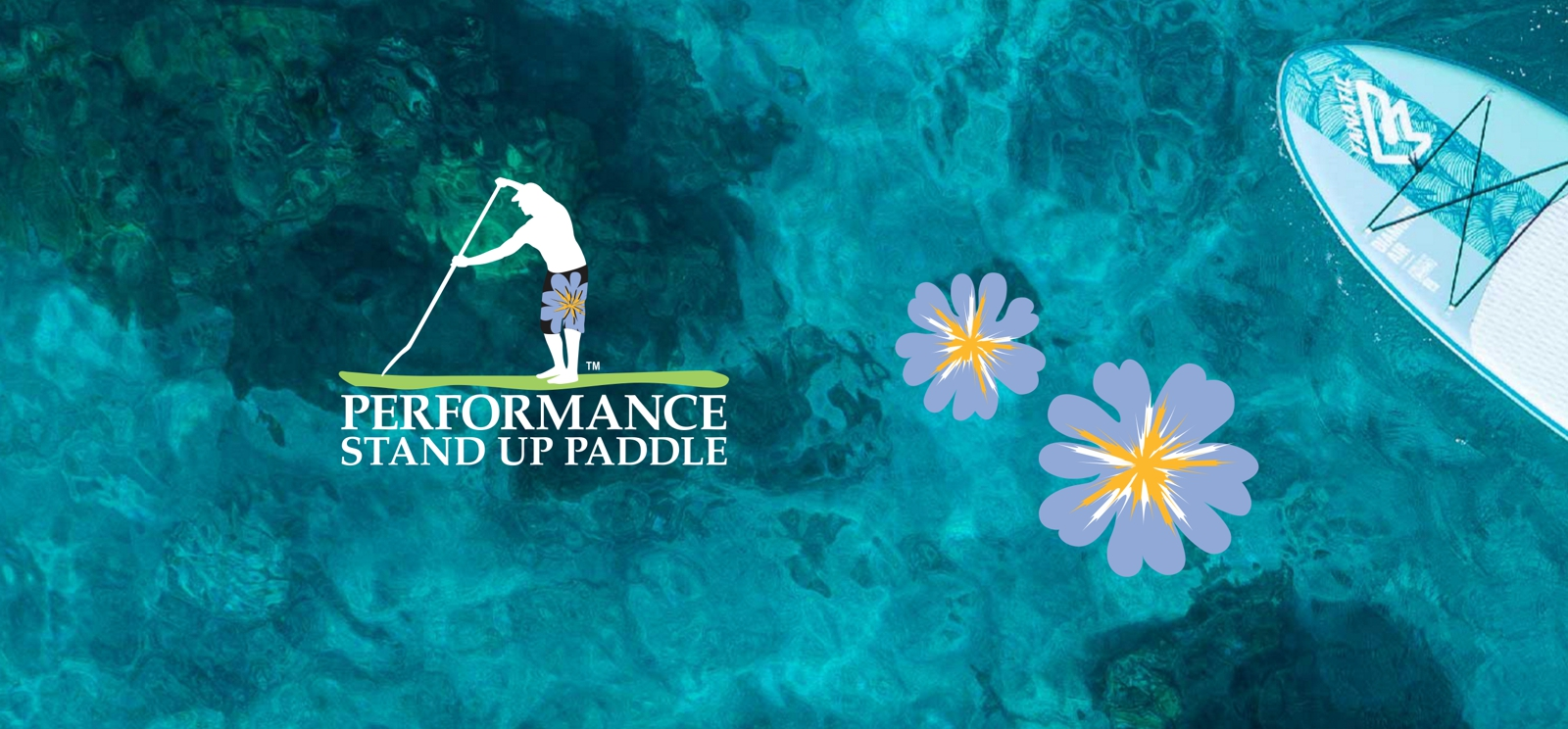 A view from above of a partial SUP board in turquoise water with the Performance Stand Up Paddle logo