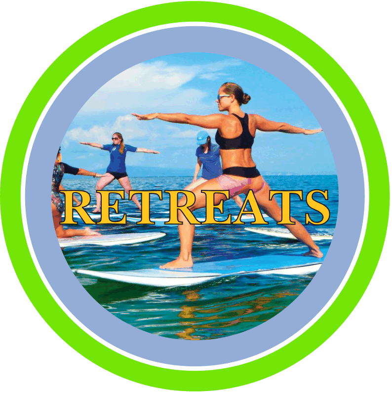 Stand Up Paddle Board retreats logo with women doing yoga on their boards